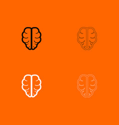 brain black and white set icon vector image