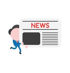 businessman running and holding newspaper vector image