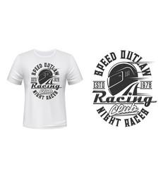 Car or motorcycle racing helmet t-shirt print vector