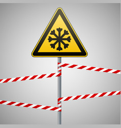 carefully cold warning sign safety pillar with vector image