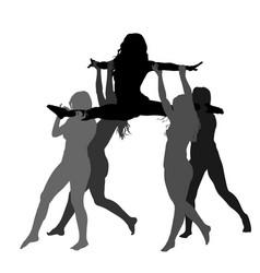 Cheerleader dancers girl figure silhouette vector