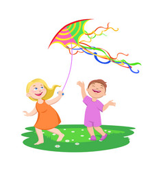 Children play with kites on a clearing vector