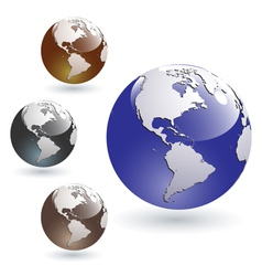 colored glossy earth globes vector image