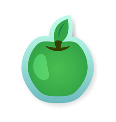 Colorful green apple sticker vector