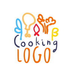 Colorful handmade logo with abstract food decor vector