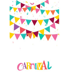 Colorful party flags with confetti and ribbons vector