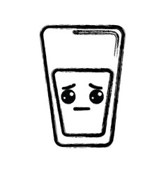 Contour kawaii cute sad juice glass vector
