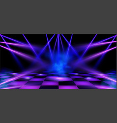 Dance floor stage illuminated spotlights vector