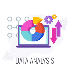 data analysis icon chart and arrows on laptop vector image