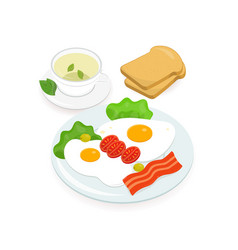 delicious breakfast consisted of fried eggs with vector image