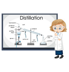 Distillation process diagram for education vector