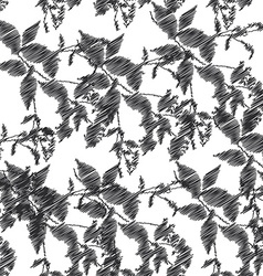 Embroidery black leaves on white background vector image