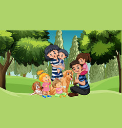 family with pets in park vector image