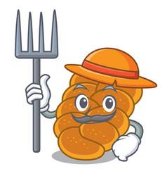 Farmer challah character cartoon style vector
