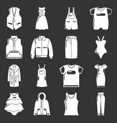 fashion clothes wear icons set grey vector image