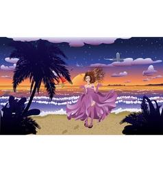 Fashion Girl on the Beach vector