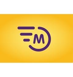 Fast line circle logo M rings monogram vector image
