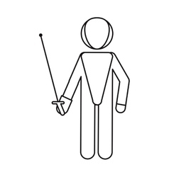 Fencing player sport athlete outline vector