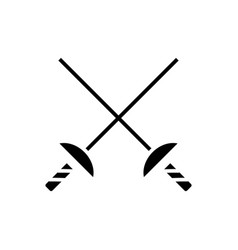 fencing swords icon black vector image