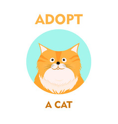 flat cartoon cat icon design adopt vector image