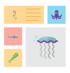 Flat icon marine set of hippocampus octopus vector