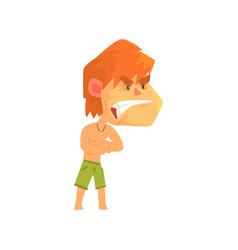 furious young redhead man wearing shorts vector image