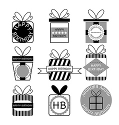 Gift boxes icons happy birthday set vector image
