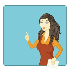 girl points at the background vector image