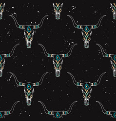 Grunge seamless pattern with bull skull and vector