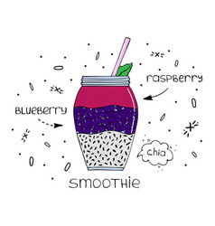 Hand-drawn of superfood of a smoothie with chia vector