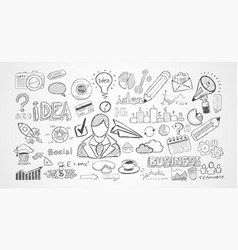Hand drawn sketches and a lot of infographic vector