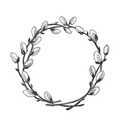 hand drawn willow branch circle frame vector image