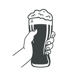 Hand holding beer glass foam and bubbles vector