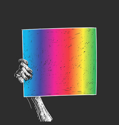 Hand holding lgbt gay pride banner white vector