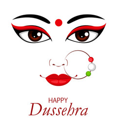 happy dussehra contour of maa durga face vector image vector image