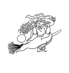 Happy girl witch on broom with cat vector
