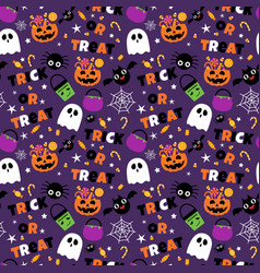 Happy halloween seamless pattern background set vector