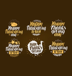 happy thanksgiving label set holiday symbol or vector image