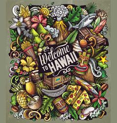 Hawaii cartoon doodles vector