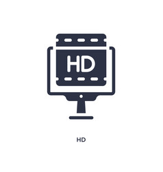 Hd icon on white background simple element from vector