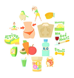 healthy lifestyle icons set cartoon style vector image