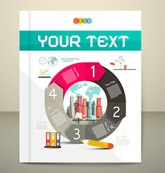 Infographics Template - Layout with City on Paper vector image