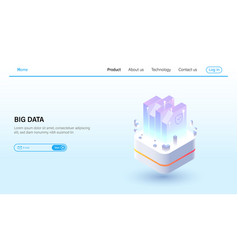 isometric big data processing and data hosting vector image