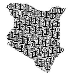kenya map mosaic of binary digits vector image