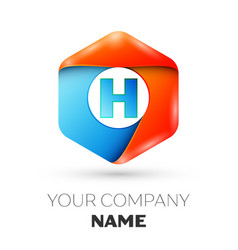 Letter h logo symbol in colorful hexagonal vector