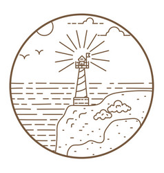 lighthouse round line style badge vector image