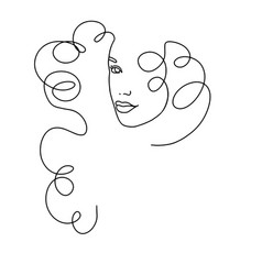 line drawing a beautiful woman 4 vector image