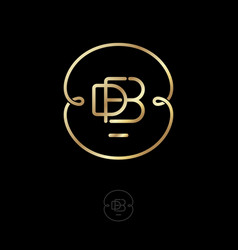 Logo d f b monogram gold thin ring with curls vector