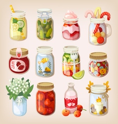 Mason jars with things vector