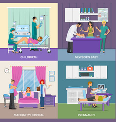 Maternity hospital 2x2 design concept vector